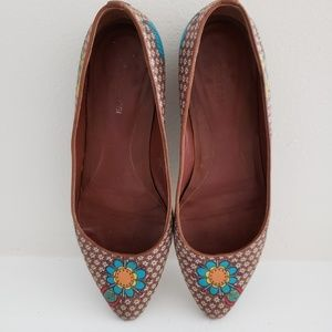 Sergio Rossi Leather Flats Floral Size 38